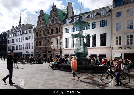 Denmark, Copenhagen, Stroget, Pedestrian street, Amagertorv - Stock Photo