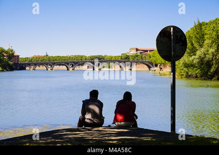 Ile du Ramier at River Garonne, Toulouse, France - Stock Photo