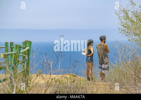 Young Couple at Viewpoint Santa Elena Ecuador - Stock Photo