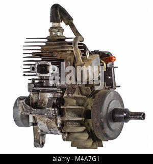Old internal combustion engine, isolated on white background - Stock Photo