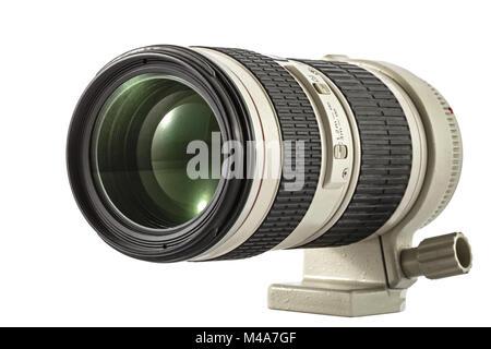 Zoom camera lens, isolated on white background - Stock Photo