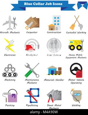 Vector Illustration Ready-To-Use 16 Colorful Blue Collar Job Flat Icons Designed as Multiple Professions Involved - Stock Photo