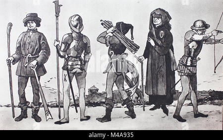 Fashion, clothing in Germany in the late Middle Ages, 1475-1500, from the left, Low German farmer with spade and - Stock Photo