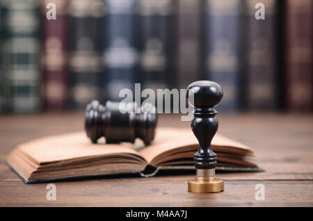 Notary seal , Judge Gavel, Notarized document concept, Legality concept. - Stock Photo