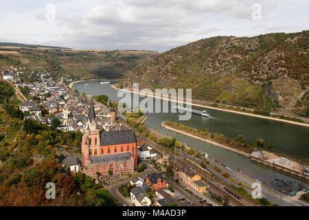 View over the town of Oberwesel with Catholic Parish Church of Our Lady and river Rhine, Germany - Stock Photo