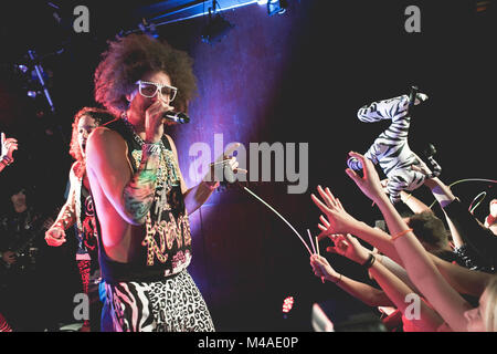 The American rap and electronic music duo LMFAO performs a live concert at VEGA in Copenhagen. The duo consists - Stock Photo