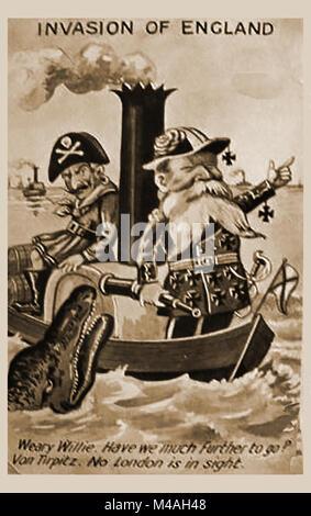 WWI - First World War British comic postcard - Invasion of England - Stock Photo