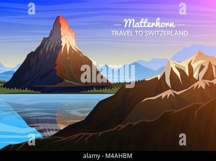 Mountain matterhorn, Evening panoramic view of peaks with waterfall, landscape early in a daylight. travel or camping, - Stock Photo
