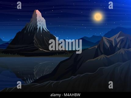 Mountain matterhorn, Night panoramic view of peaks with waterfall, landscape early in a daylight. travel or camping, - Stock Photo
