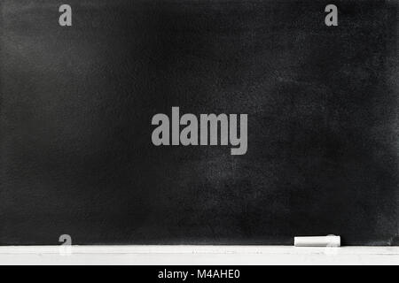 Blackboard background with chalk pen on the edge. Dirty and old chalkboard in school class room. - Stock Photo