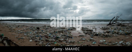 Bali, Indonesia - December 19, 2017: Garbage on beach, environmental pollution in Bali - Stock Photo