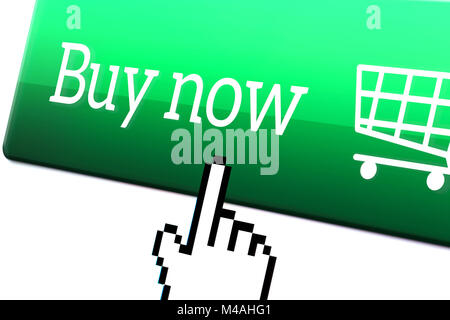 Online shopping and e commerce concept. Pixel hand cursor point and push a buy now button on an internet store. - Stock Photo