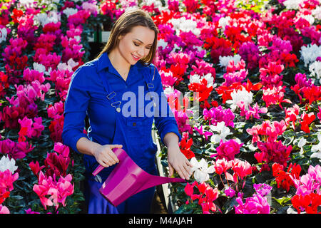 Woman gardener dressed in a working uniform watering flowers, smiling looking at the flowers, while standing in - Stock Photo