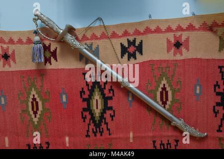 Viking sword medieval Azerbaijan cold steel blade . Ancient Azerbaijan military sword on white background. Clipping - Stock Photo