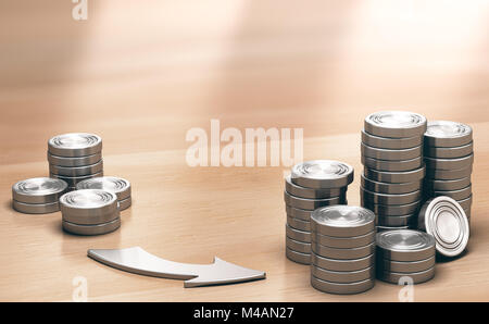 Two Piles of coins symbols on a wooden table and an arrow pointing the larger one. Financial profits concept. 3d - Stock Photo