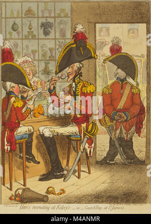 Hero's recruiting at Kelsey's; - or- Guard-Day at St. James's by james Gillray published 1797. Two officers, on - Stock Photo