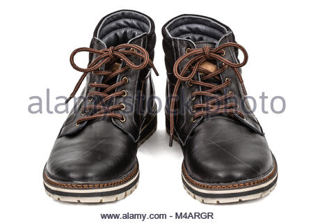 Pair of new boots, isolated on white background - Stock Photo