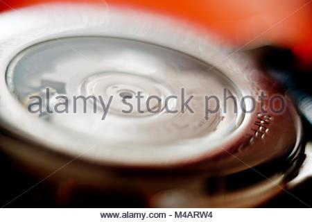 Macro detail of swiss made male luxury watch mechanism - Stock Photo