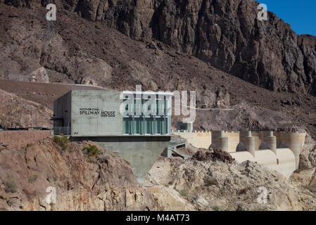 Hoover Dam Spillway House, Nevada, USA - Stock Photo