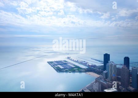 Aerial view of Lake Michigan, Chicago, Illinois, USA - Stock Photo