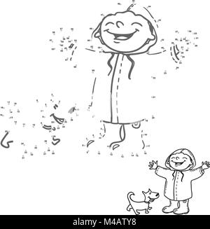 Link the dots. Numbers game for kids. Happy girl and dog in the rain. Coloring book page. - Stock Photo