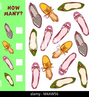 How many shoes. Children counting game. Vector learning activity for kids. - Stock Photo