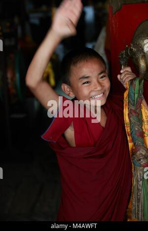 monks at monastery in Kathmandu Nepal - Stock Photo