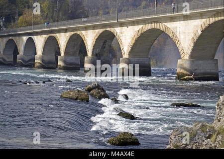 Railway bridge near Schaffhausen on the Rhine Falls, Switzerland - Stock Photo
