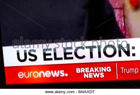 Breaking news US elections signs on Euronews TV - Stock Photo
