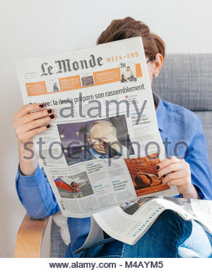 Le Monde newspaper about Vladimir Putin russian president - Stock Photo