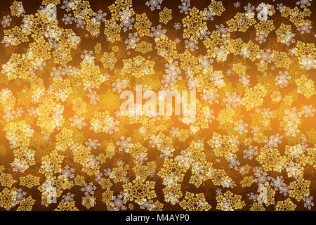 Abstract yellow-brown background with snowflakes - Stock Photo