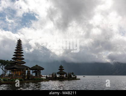 temple complex Pura Ulun Danu Bratan on the west shore of the Danau Bratan,north Bali - Stock Photo