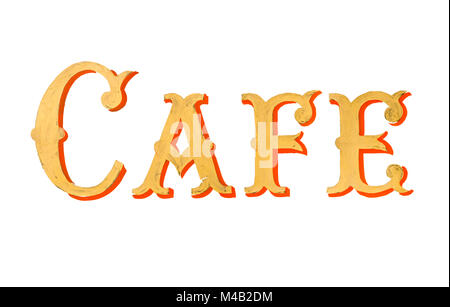 Vintage Painted Cafe Sign - Stock Photo