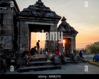 The main gate of Ratu Boko Palace compound at sunset. Special Region of Yogyakarta, Java, Indonesia. - Stock Photo
