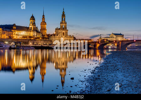 Sunset at the historic center of Dresden with the river Elbe - Stock Photo