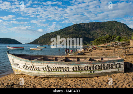 Fishing boats on a beach,Lake Malawi,Cape Maclear,Malawi,Africa - Stock Photo