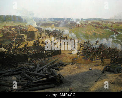 Nansouty's heavy cavalry attacks squares of Russian guardsmen to the left of Semyanovskaya (background) to support - Stock Photo
