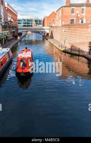 Views of the canal in Brindley Place Birmingham, UK - Stock Photo