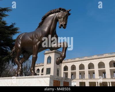 Leonardo's horse at the Hippodrome of San Siro, Milan, Lombardy, Italy. - Stock Photo