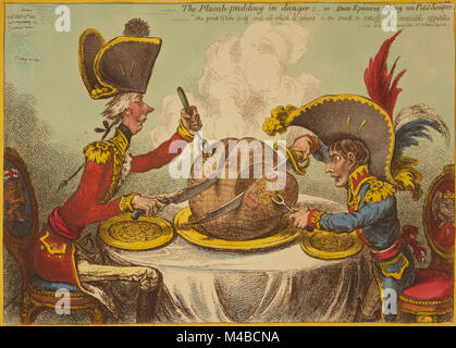The Plumb-pudding in danger, or, State epicures taking un petit souper James Gillray published 1805. William Pitt, - Stock Photo