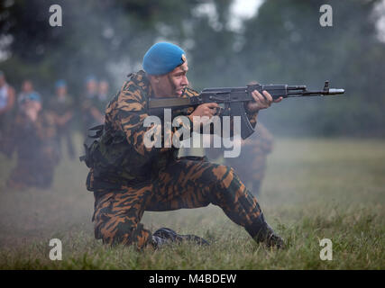 Russian soldiers. Military man in blue beret. A strong man fights. Airborne Troops. - Stock Photo