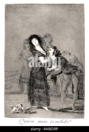 Francisco de Goya -Which of them is more overcome?', 1799. Plate 27 of 'Los caprichos' - Stock Photo