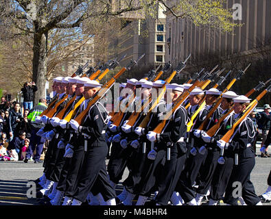 US Navy Marching Platoon during Cherry Blossom Parade in Washington DC - Stock Photo