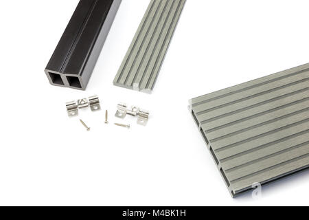 Grey composite decking board with mounting material - Stock Photo