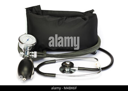 Black professional blood pressure monitor on white - Stock Photo