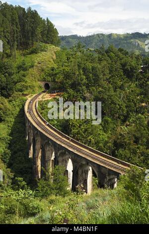 Nine Arches Bridge in the highlands near Ella,Sri Lanka - Stock Photo
