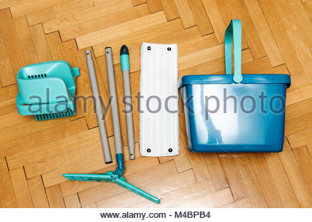Complete set of mop with bucket as seen from above - Stock Photo