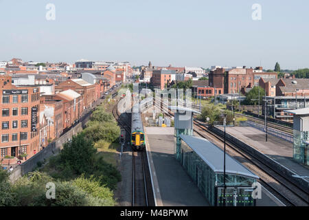 A train approaching Snow Hill train station, Birmingham - Stock Photo