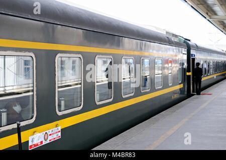 Tibet Railway to Lhasa in Tibet Station Xining China - Stock Photo