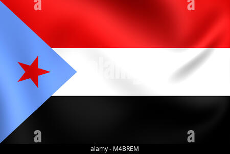 People's Democratic Republic of Yemen Flag. - Stock Photo